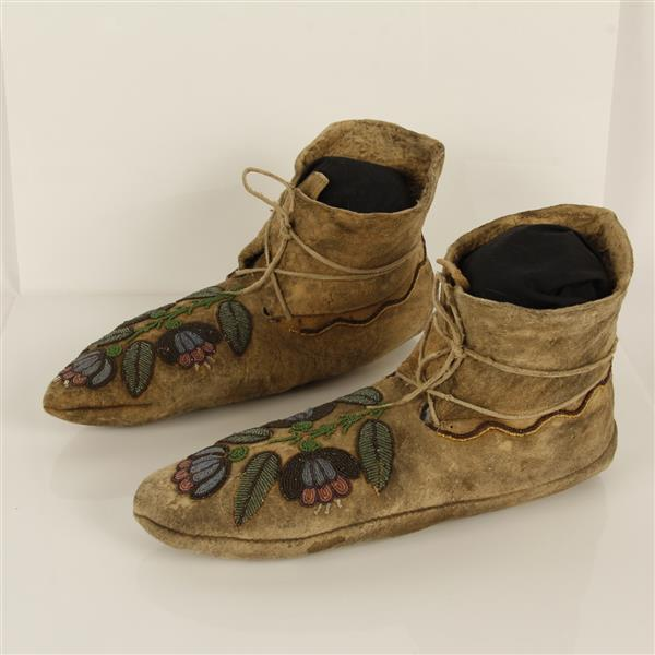 Extremely rare, very early Flat Head / Salish men's beaded moccasins with micro . c. 1870.