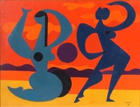 Coulot 1953 Abstract Nude Dancers Oil Canvas