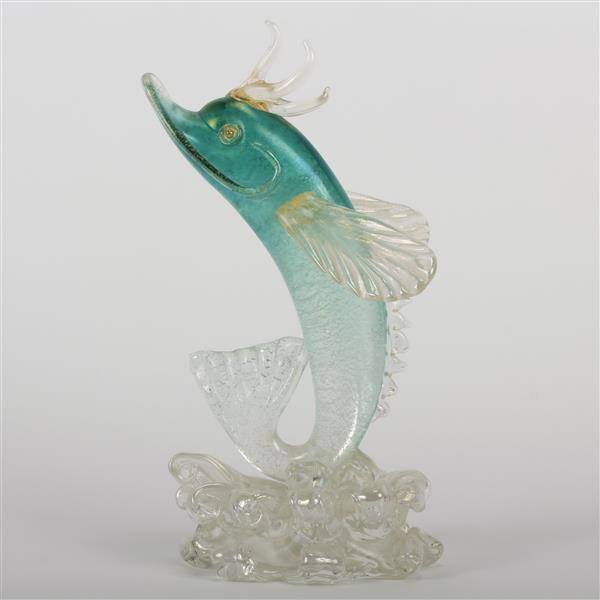 Archimede Seguso iridescent art glass model of a flying fish