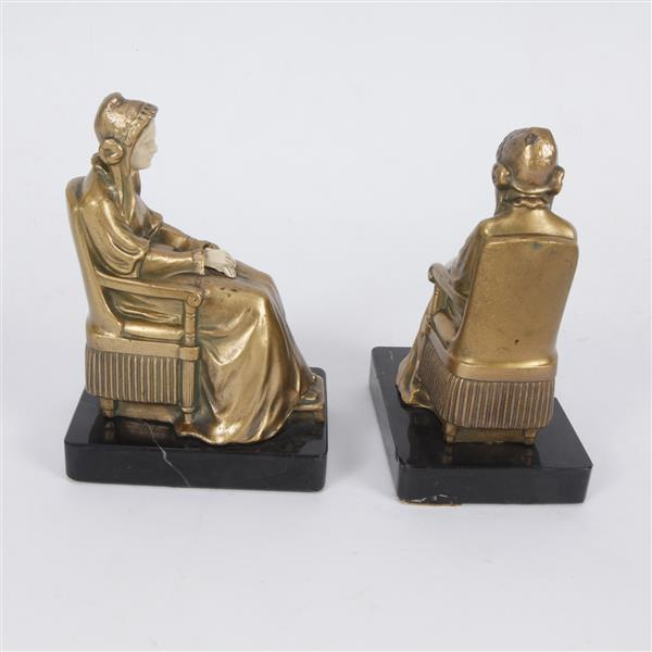 Pair antique french gilt bronze and carved bookends in the f - Antique brass bookends ...