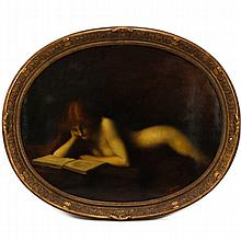 School of Jean-Jacques Henner, (French;1829-1905), The Reader, reclining Pre-Raphaelite nude reading a book, oval oil on canvas, 34