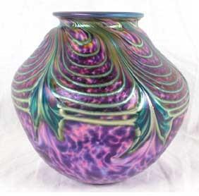 David Lotton Purple Pulled Feather art glass 1994