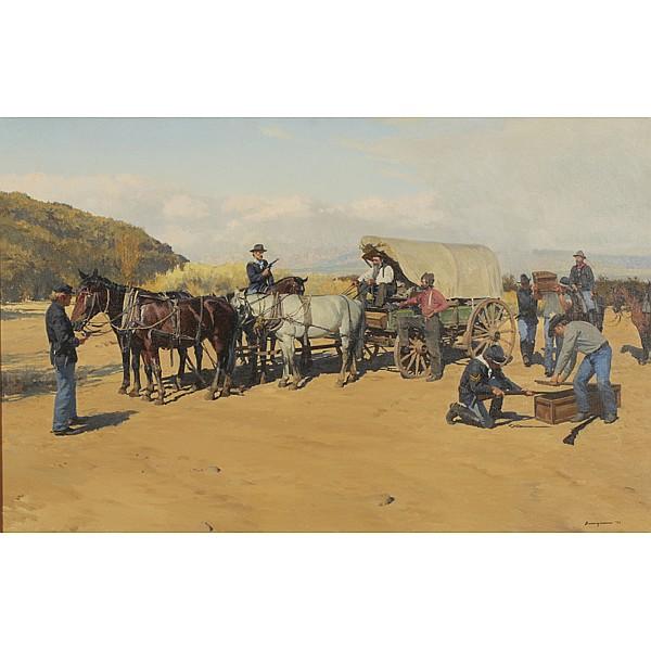 Francis Henry Beaugureau, (1920-2001), Western genre scene, Oil on canvas, 26