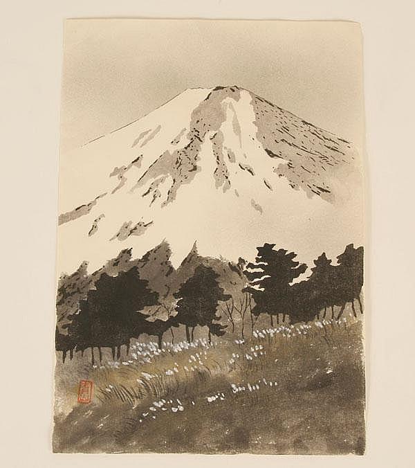EIICHI KOTOZUKA (1906-1979) Benten Bashi (bridge) and Mt. Fuji Japanese color woodblock prints