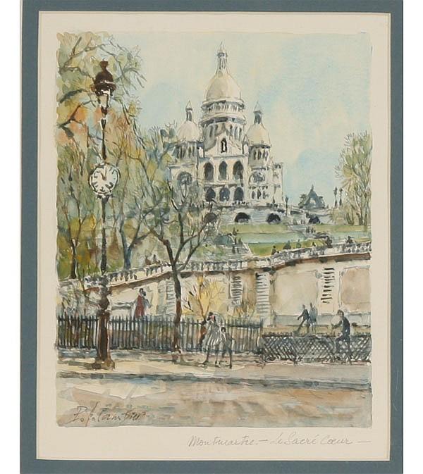 Pierre Cambier, (1865 - 1942), Montmartre--Le Sacre Coeur, Paris, watercolor, Image; 8 3/4