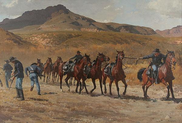 Francis Henry Beaugureau, (American, 1920-2001), Dismounted for Action, oil on canvas, 29