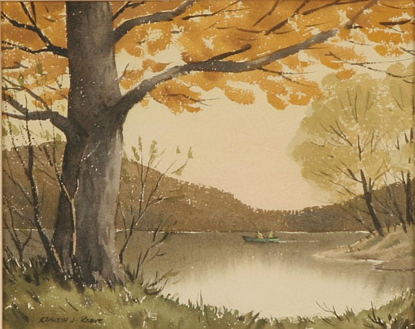 Kenneth Reeve, (Indiana 1910-), Autumn landscape with fishermen, watercolor, 7
