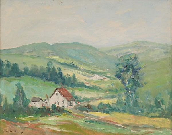 George C. Baum, (1884-1974), Brown County valley landscape with homestead, oil on board, 16