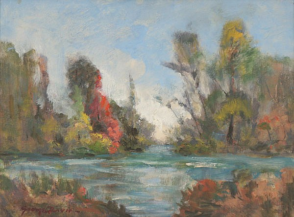 George C. Baum, (1884-1974), impressionist autumn landscape on the water, oil on board, 12