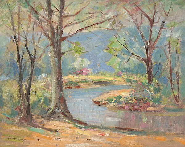 George C. Baum, (1884-1974), bend in the river; Brown County spring landscape, oil on board, 16