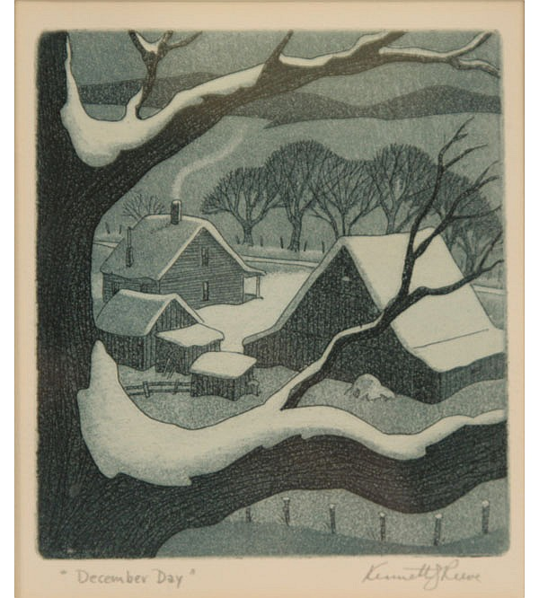 Kenneth Reeve, (Indiana 1910-), Two etchings; winter wildlife deer and stream/cottage aquatint, Plate; 4 1/2