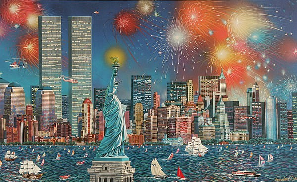 Alexander Chen, (Chinese, 1952- ), Manhattan Celebration, enhanced giclee print, 22