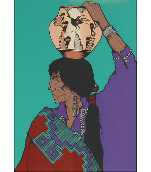 Amado Maurilio Pena, (American, 1942-2009 ), Native American figure with pot, serigraph, 26 1/2