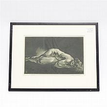 Reynold Weidenaar, (Michigan;1915 - 1985), Penitent, female nude, mezzotint etching, 1947, Image: 9 1/2