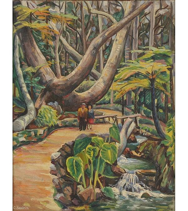 C. Schlein Tropical Landscape Vintage Hollywood
