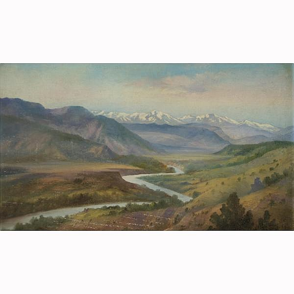 Willard J. Page, American; (1885-1958)., Colorado mountain range landscape, Oil on board., 14