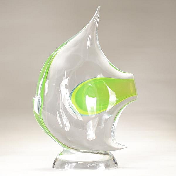 Pino Signoretto Sommerso Angelfish figural Murano glass;