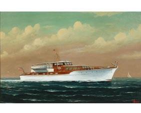 Joe Selby Motor Yacht Oil African American Artist