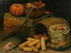 Alfred Montgomery Corn Still Life Oil Board