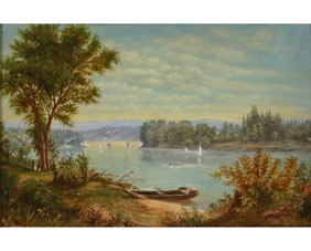 John Elwood Bundy Indiana Oil River Scene Painting