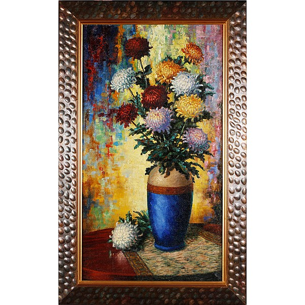 Roy T. Shedy, (b.1931), still life with flowers, impasto oil on canvas, 35