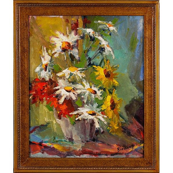 Joan Birdsong, (Indiana, Brown County 20th Century), Daisies floral still life/ post impressionist style, oil on canvas, 19 1/2