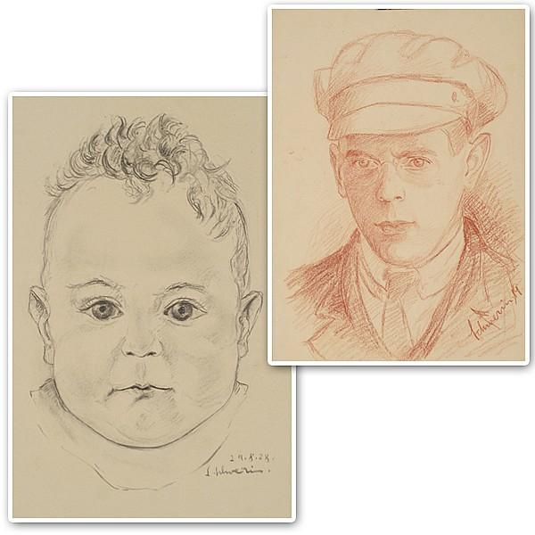 Two drawings by Ludwig Schwerin (Germany/Israel; 1897-1983).