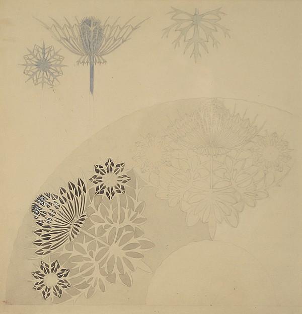 Art Nouveau original fan design illustration/rendering,