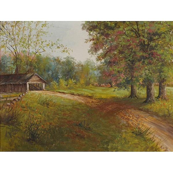 A. Izor, (American; 20th Century), Indiana covered bridge landscape, oil on canvas, 20