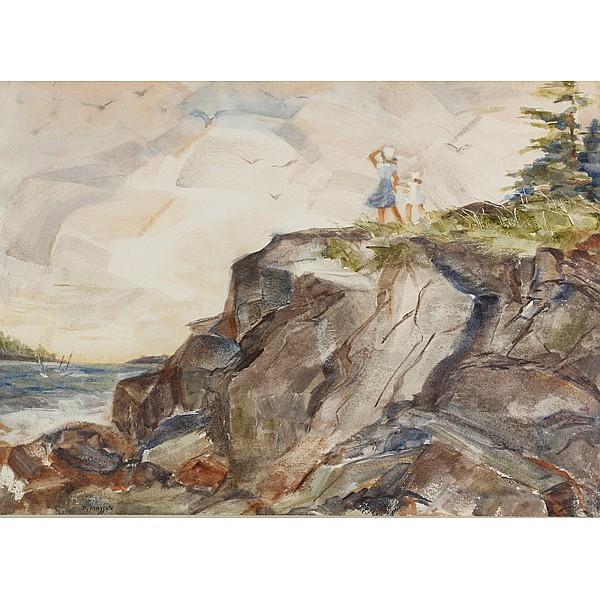 Dorothy Hardin Massey, (American; b.1919), Children on the shore, watercolor on paper, 22 1/2