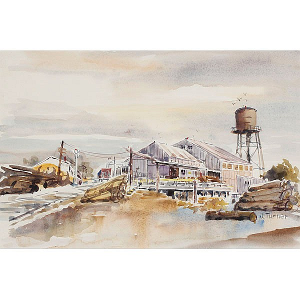 Two American 20th Century industrial watercolor scenic paintings on paper.