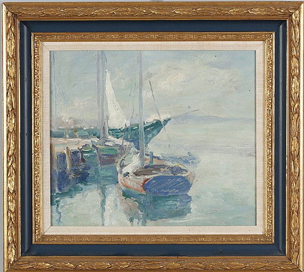Carl Christopher Graf, (1892 - 1947), docked boats, oil on canvas, 12