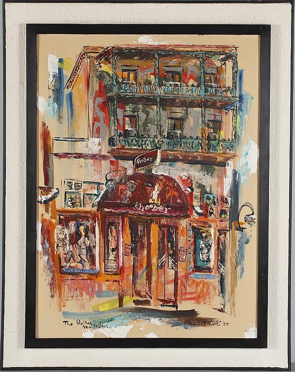 Dan Gottschalk, (American; 1919-1979), The Shobar, New Orleans, oil on board, 29 1/2