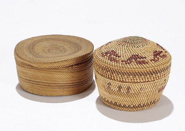 Two Native American Indian lidded baskets.