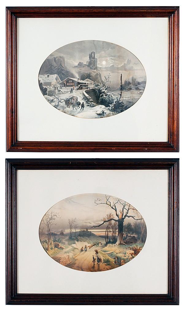 Pair color lithographs after Louis-Emile Dardoize (Paris; 1829-1901);