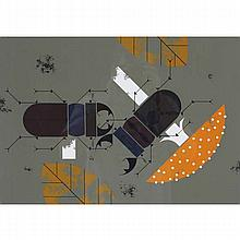 Charley Harper, American (1922-2007), Beetle Battle, Screenprint on paper, 20 3/4