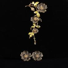 St. John Designer Enamel Flower Brooch and Earrings Set.