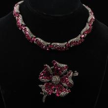 Trifari 2pc. Alfred Philippe Pave & Fuchsia Jewel Flower Brooch Pin & Necklace