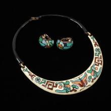 Eisenberg Enamel Vintage Modern Necklace and Earrings.