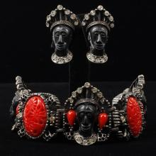 Selro Selini Blackamoor Bracelet and Earrings Set.
