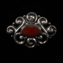 German 800 Silver Jugendstil Art Nouveau Brooch Pin set with carnelian.