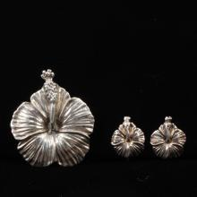 Ming''s Hawaiian Sterling Silver 2pc. Hibiscus Flower Set; Brooch Pin & Screwback Earrings