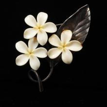 Ming''s Hawaiian Sterling Silver & Ivory Tropical Floral Brooch Pin