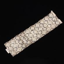 Antique Victorian Silver Filigree Wide Cuff Bracelet with Pin Hinge Clasp.