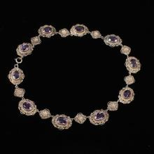 Antique Vintage Peruzzi Italian Sterling Silver Filigree Necklace with amethyst colored jewels.
