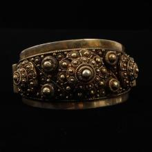 Siam? Sterling Silver Vermeil Filigree Cuff Bracelet marked 1000.