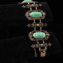 Antique Sterling Silver vermeil filigree Bracelet with jade Peking glass cabochons.