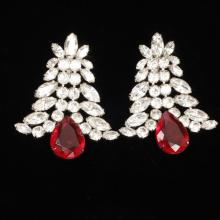 Scaasi designer diamante earrings with ruby and colorless crystal stones.