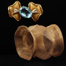 Scaasi Gold Tone Mesh Bow Brooch Pin with Aqua Jewel & Gold Tone Mesh Slip On Cuff Bracelet,