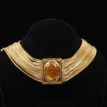 Monet Vintage Designer Gold Tone Multi snake chain Choker Necklace with Amber Colored Jewel.